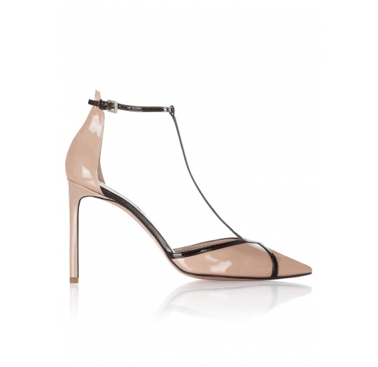 High heel shoes in nude and black patent leather Pura L�pez