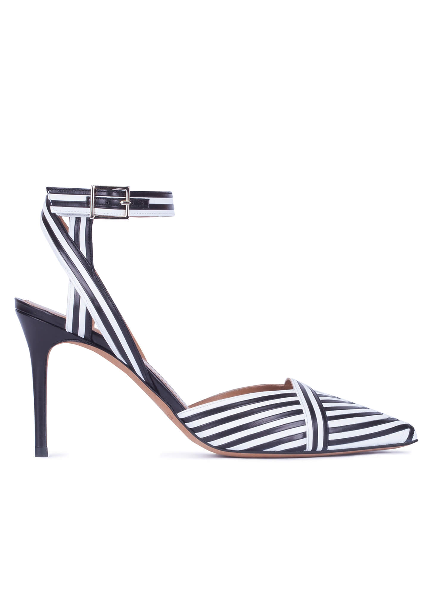 3e80345e23 Striped slingback high heel shoe in black and white leather . PURA LOPEZ
