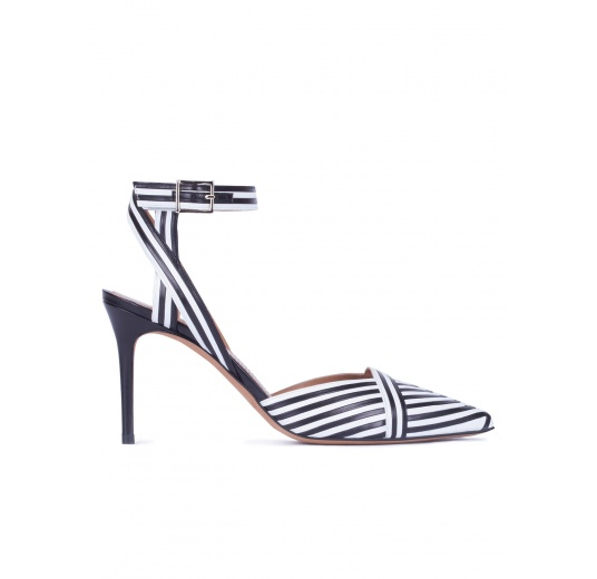 Striped slingback high heel shoes in black and white leather Pura L�pez