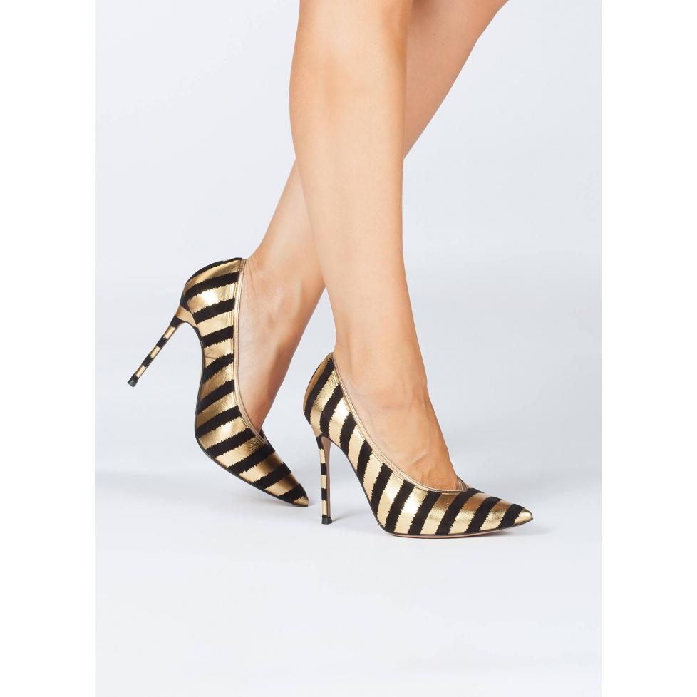 Striped V-cut high heel pumps - online shoe store Pura Lopez