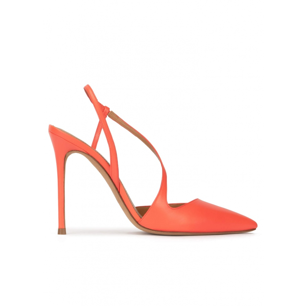 Heeled pointy toe sligback pumps in coral leather