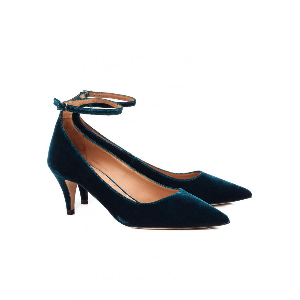 Blue velvet party mid heel pumps - online shoe store Pura Lopez