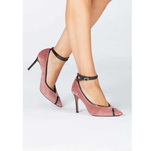 Nude velvet pointy toe pumps with black leather ankle strap Pura L�pez