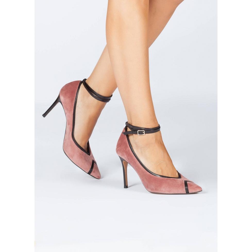 Nude velvet high heel pumps - online shoe store Pura Lopez