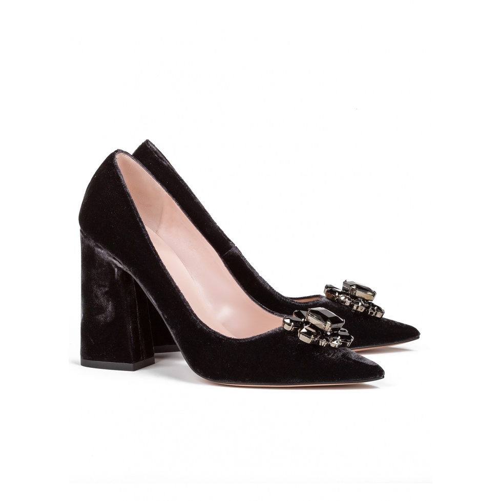 High block heel pumps in grey velvet - online shoe store Pura Lopez