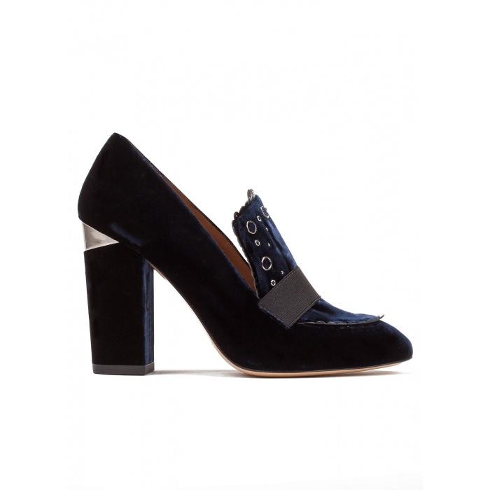 High block heel loafers in night blue velvet