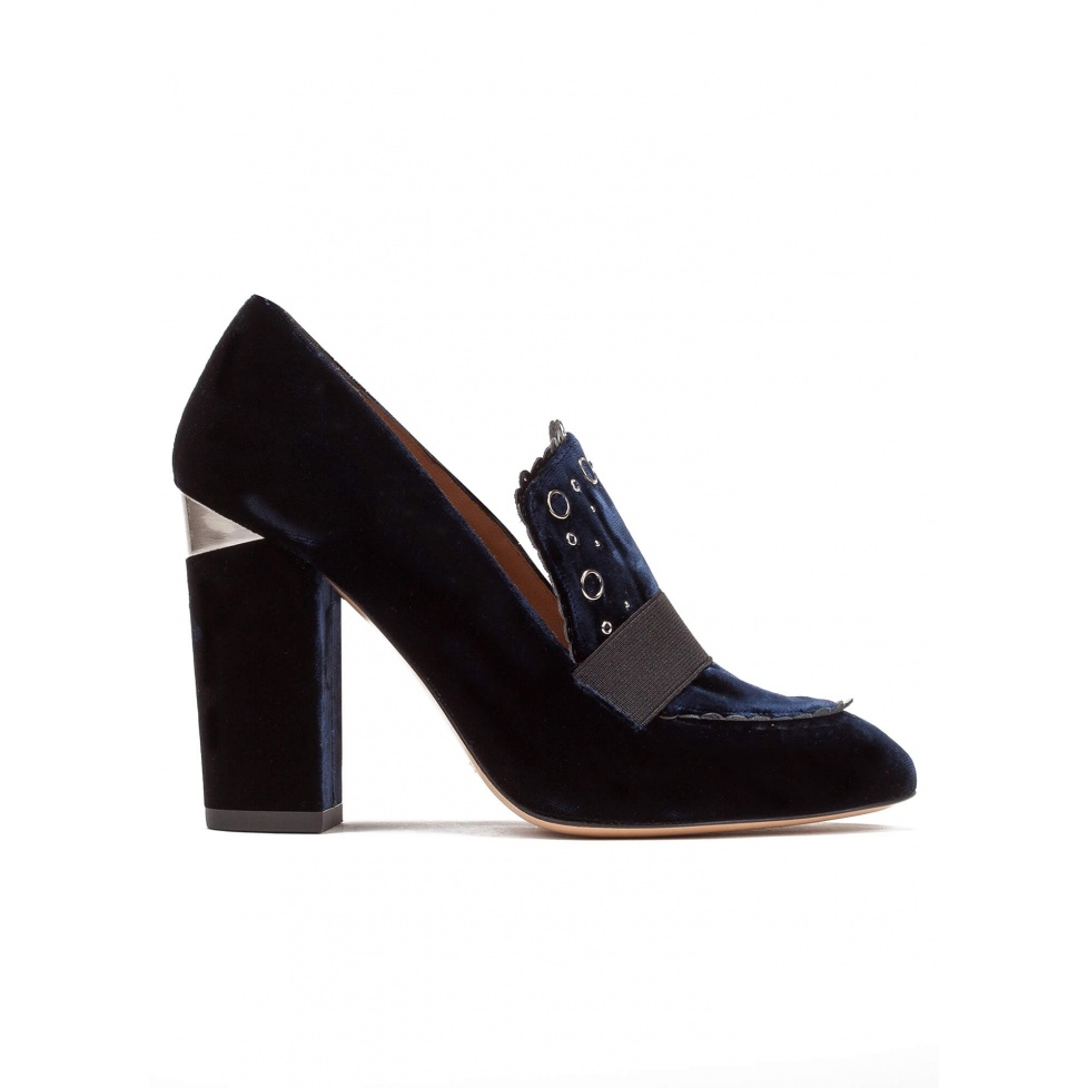 High block heel loafers in night blue velvet