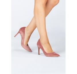 Zapatos de tacón en terciopelo nude Pura López