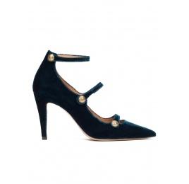 Zapatos de tacón alto en terciopelo azul petróleo con botones Pura López