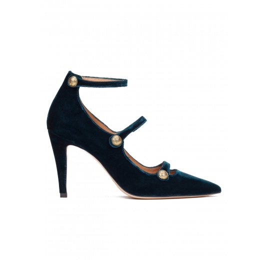 Strappy high heel shoes in petrol blue velvet Pura L�pez
