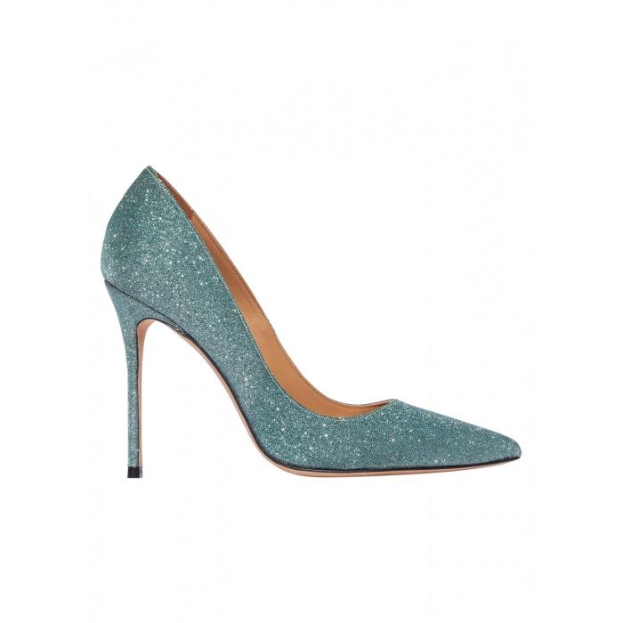 High heel pumps in emerald green glitter