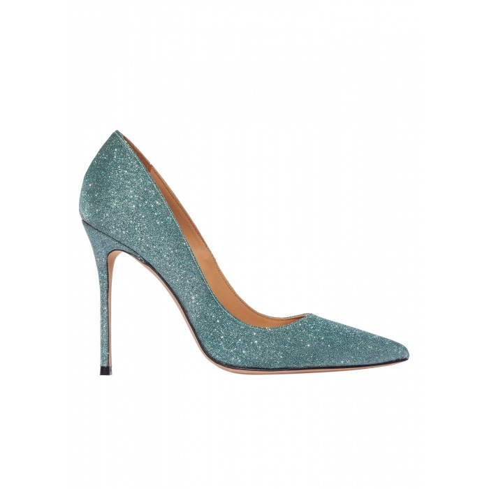 High heel pumps in emerald green glitter