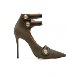 Button detailed high heel shoes in military green suede Pura López