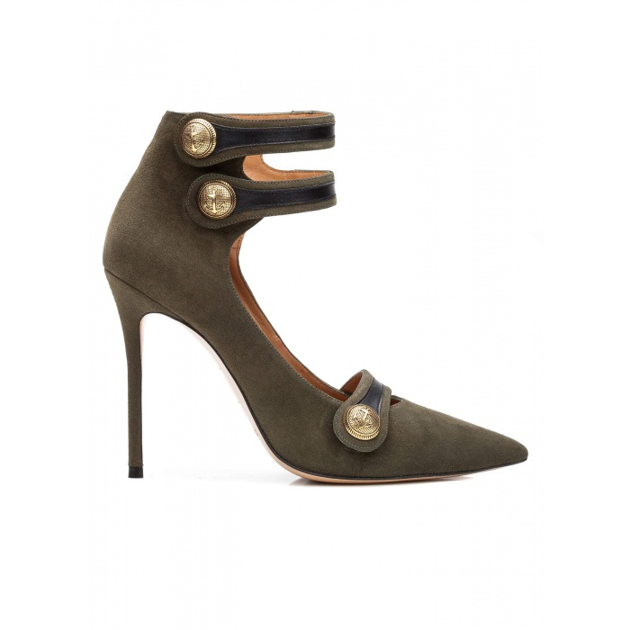 Button detailed high heel shoes in military green suede