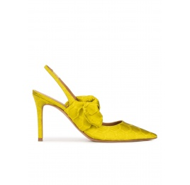 Bow detailed high heel slingback pumps in pistachio green Pura López
