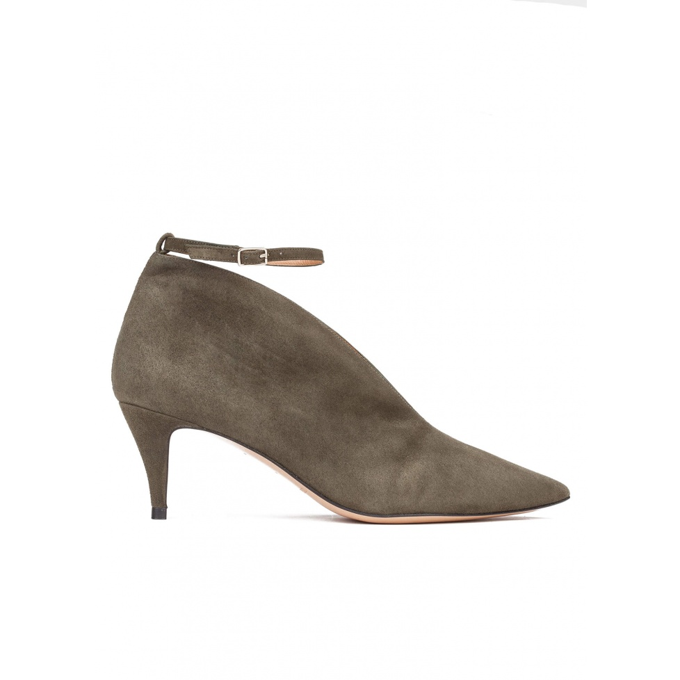 Ankle strap mid heel shoes in army green suede