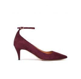 Ankle strap mid heel pumps in aubergine suede Pura López