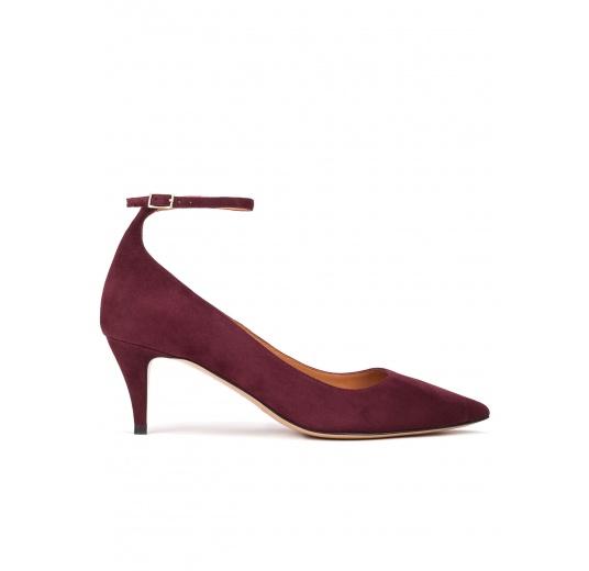Ankle strap mid heel pumps in aubergine suede Pura L�pez