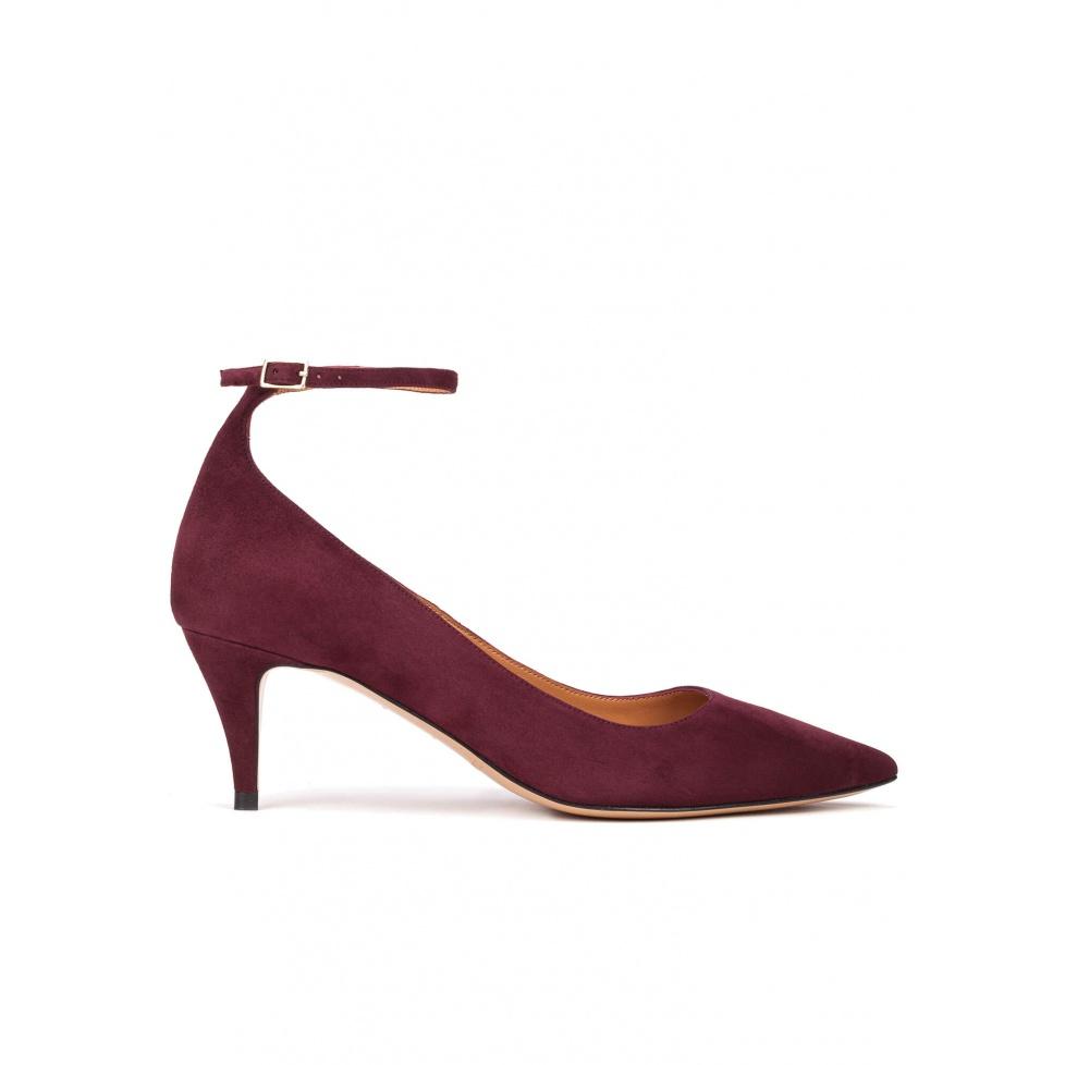 Ankle strap mid heel pumps in aubergine suede