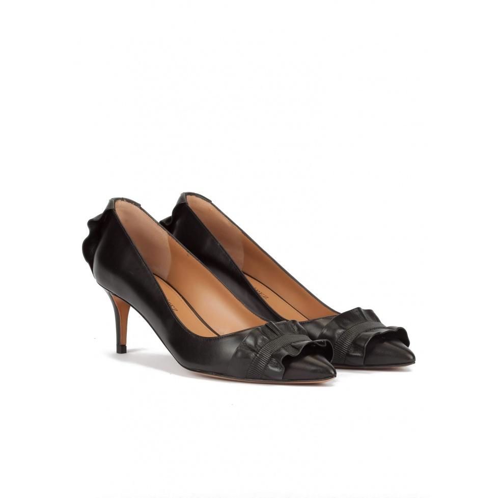 Mid heel pumps in black leather - online shoe store Pura Lopez