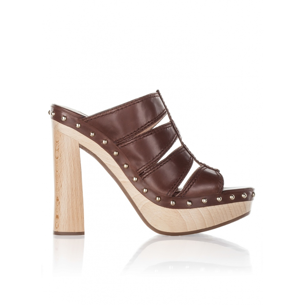Wood platform clogs in brown leather